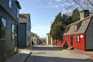 view down Newport Rhode Island's William Street